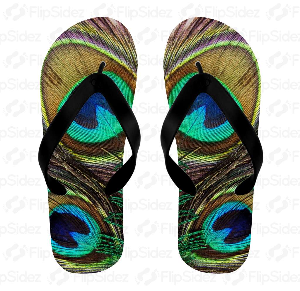 Peacock Feather  Flip Flops