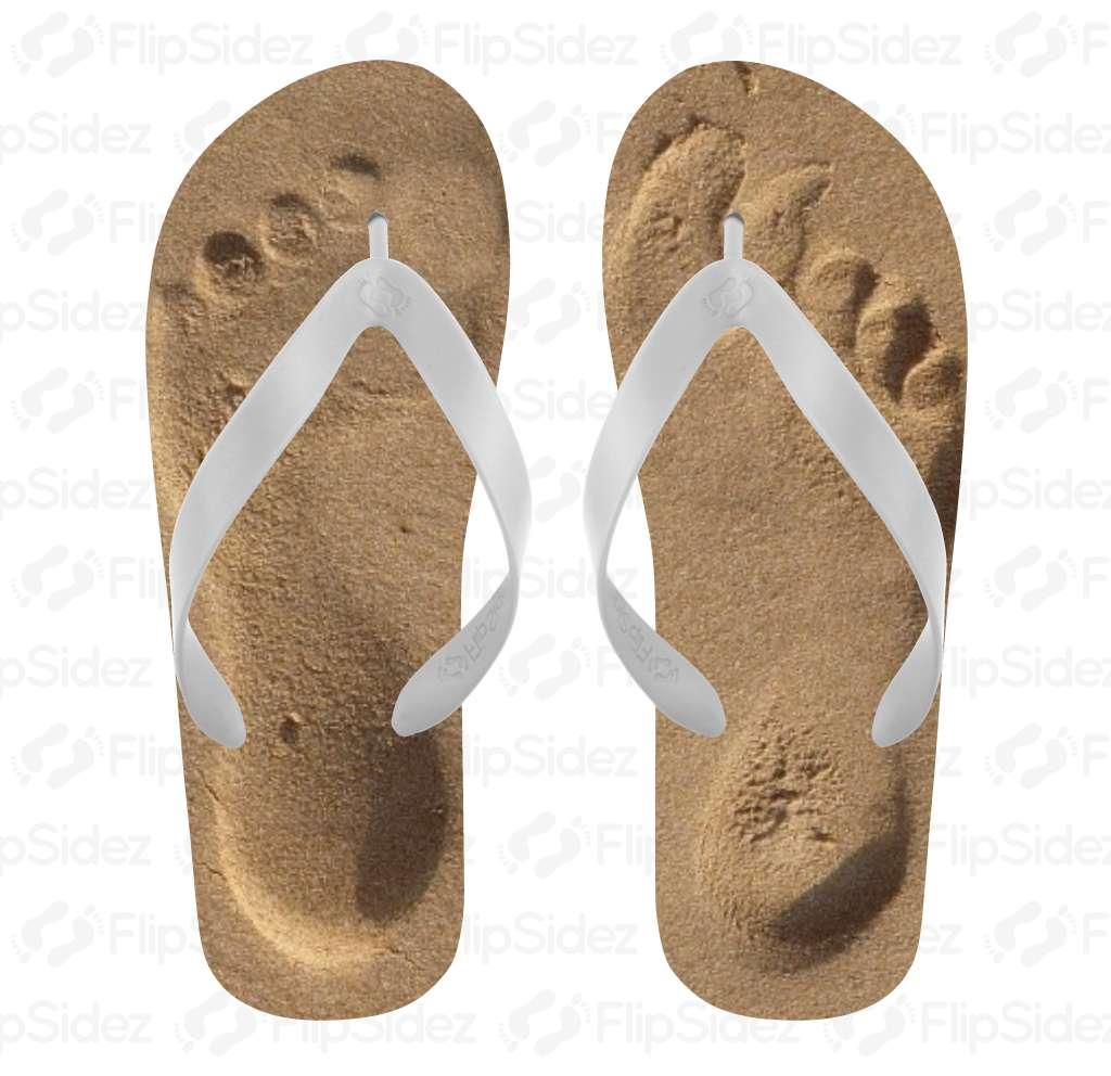 Sand Footprints Flip Flops