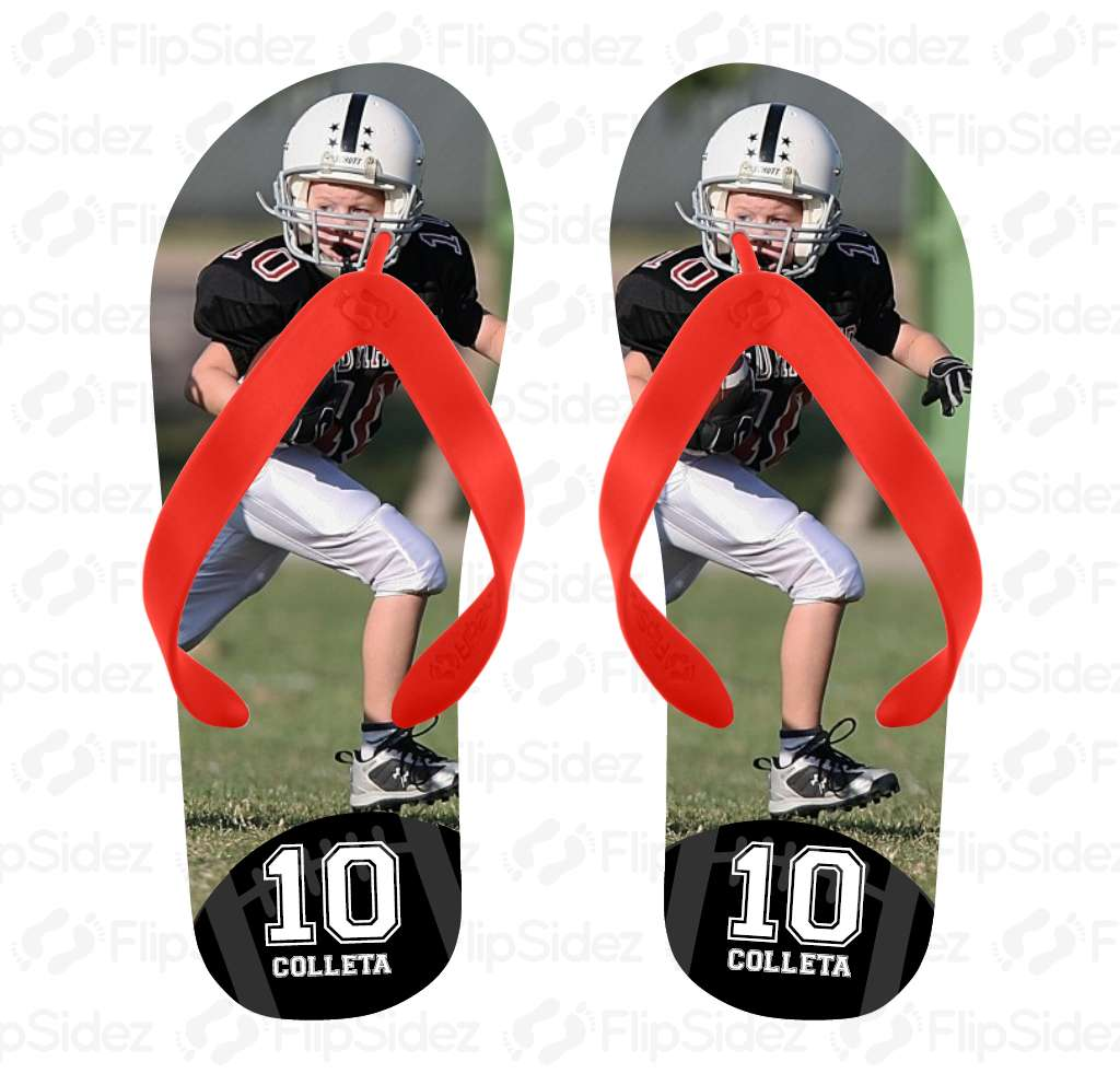 Football Player Photo Flip Flops
