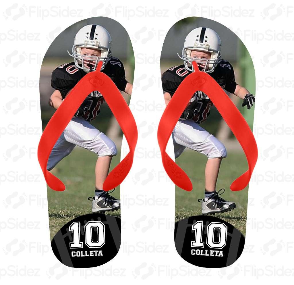 Football Player Photo Flip Flops