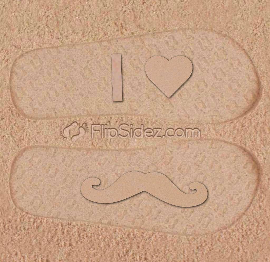 I Love Mustaches Flip Flops