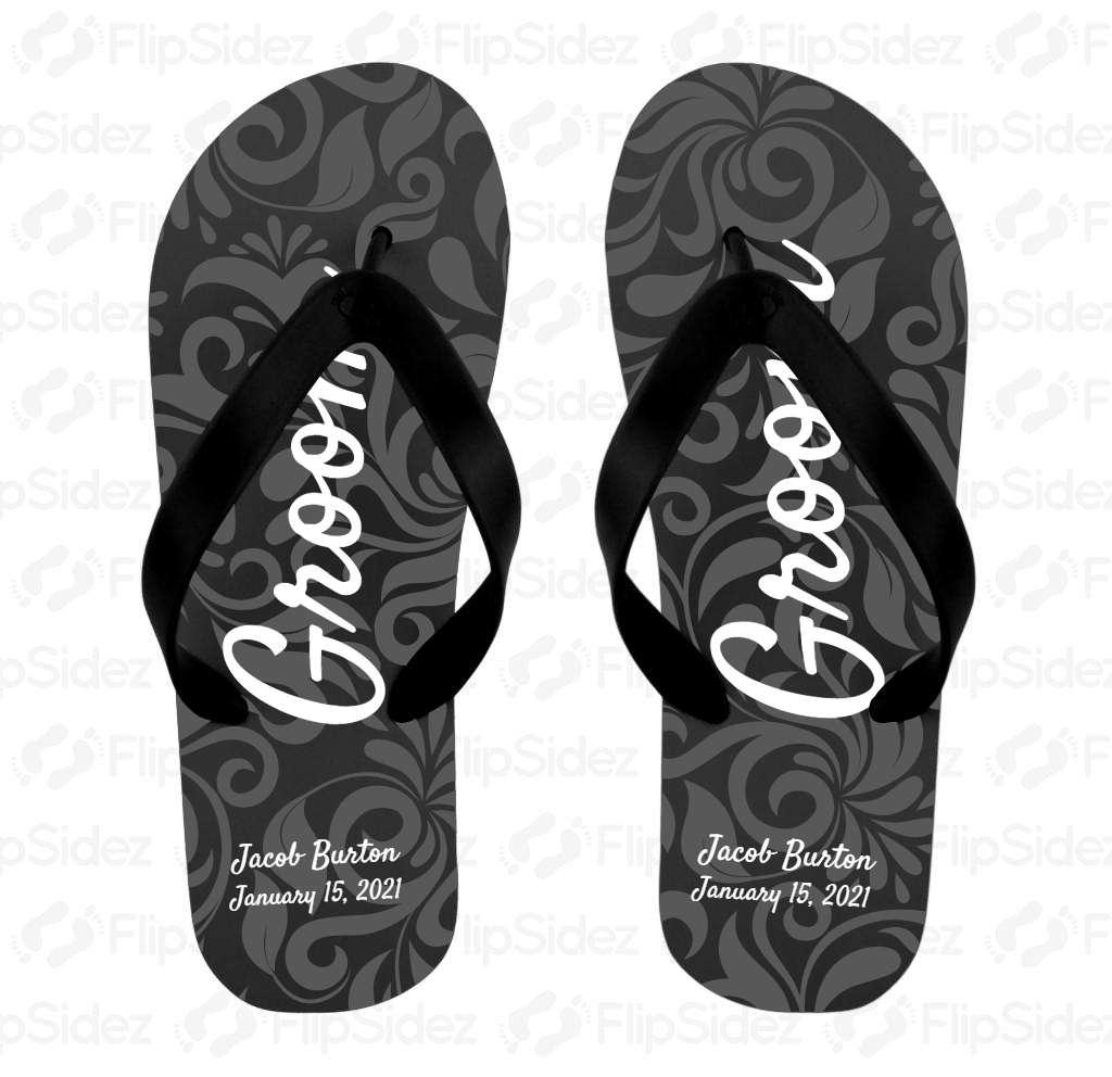 Groom, Black Damask Flip Flops