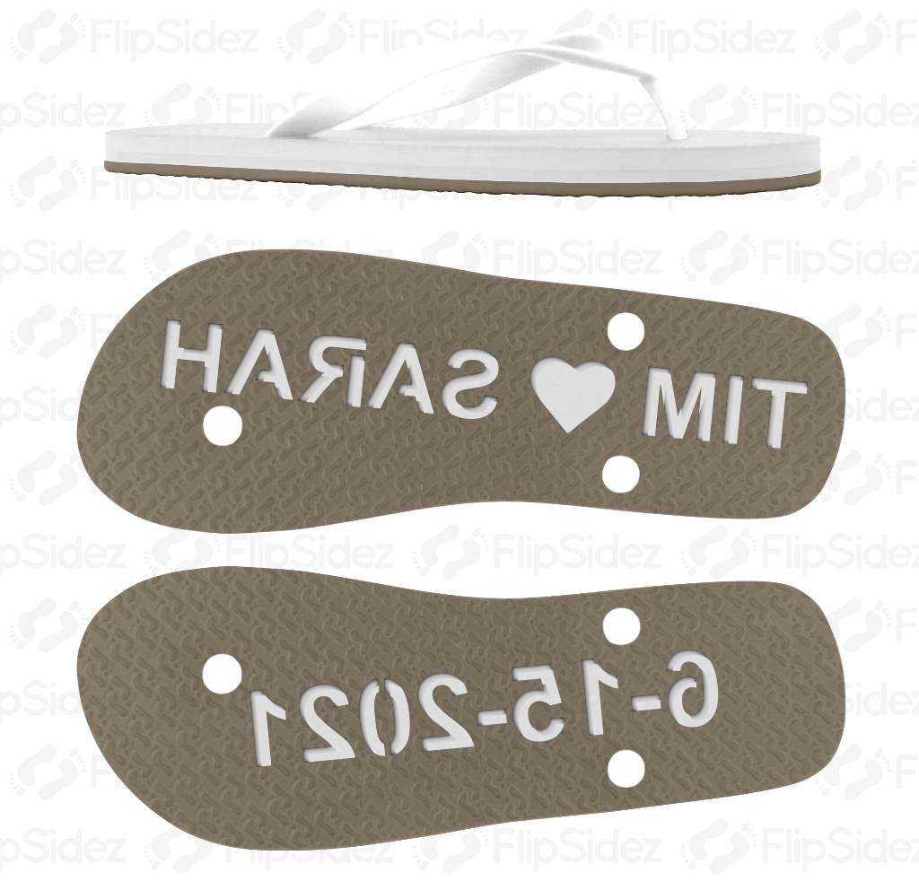 Custom Couple Wedding Date Flip Flops