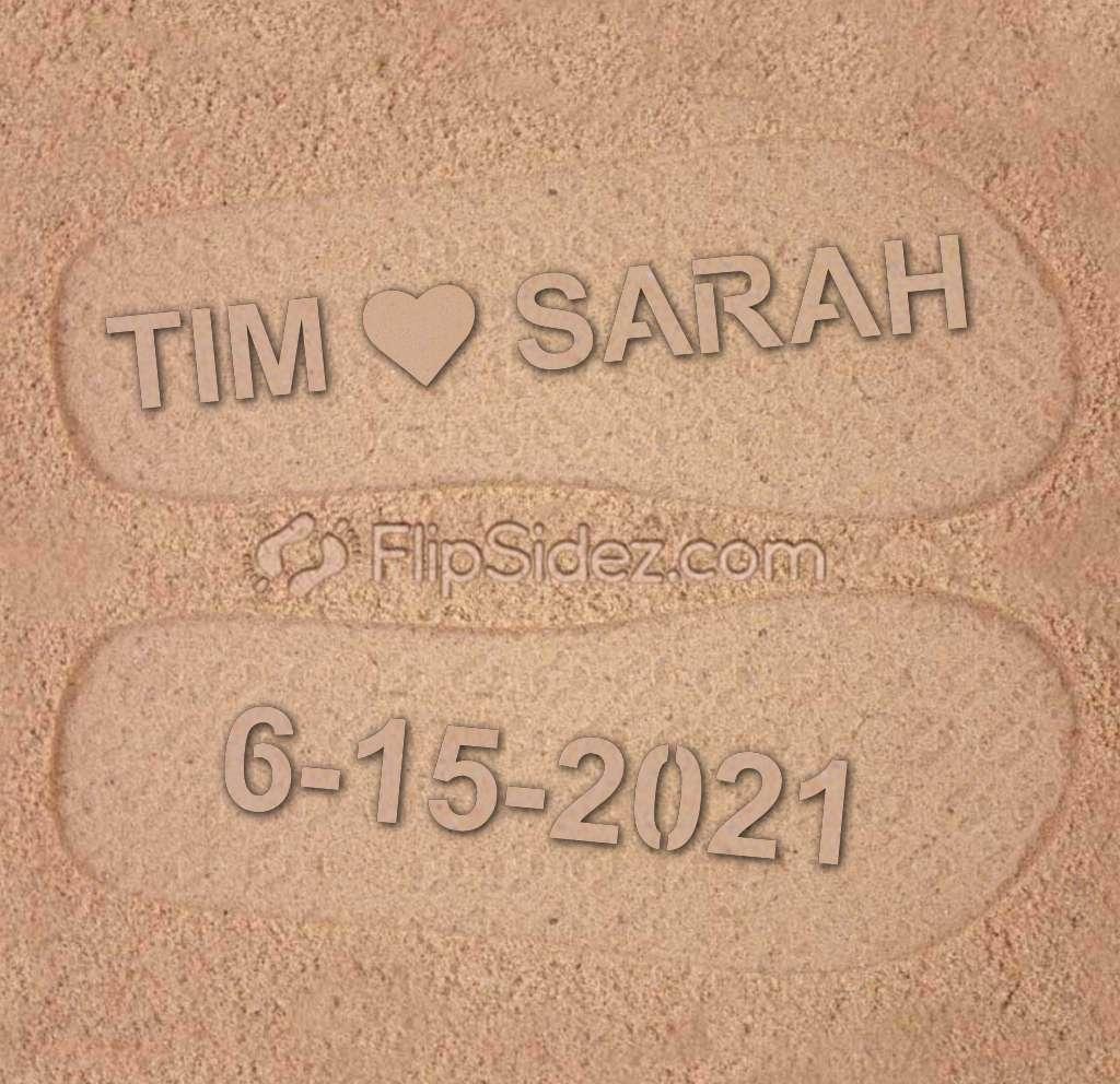NAME Heart NAME Wedding Date Flip Flops