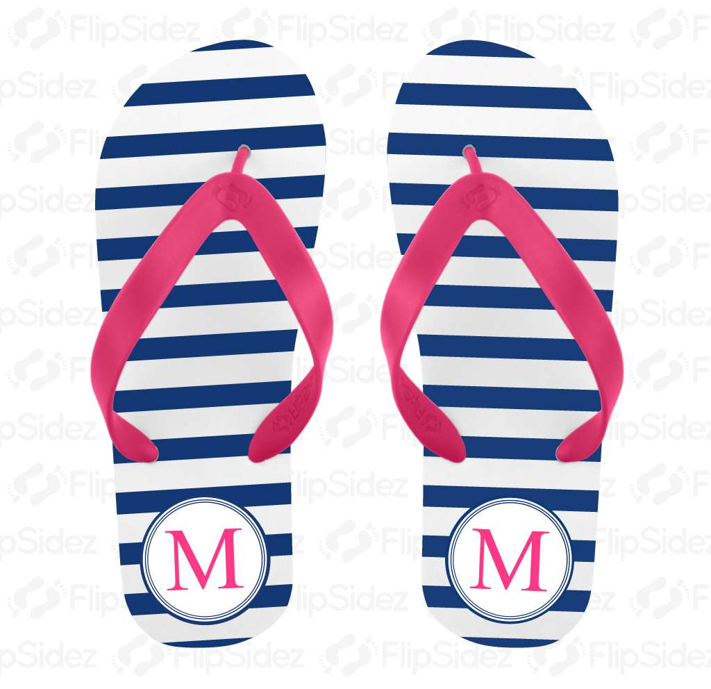 Stripe Monogram Flip Flops