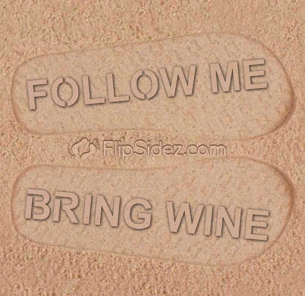 Follow Me Bring Wine Flip Flops