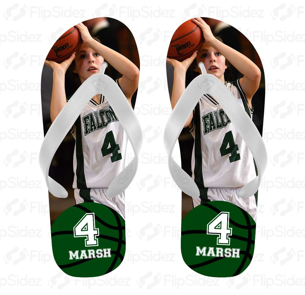 Basketball Player Photo Flip Flops