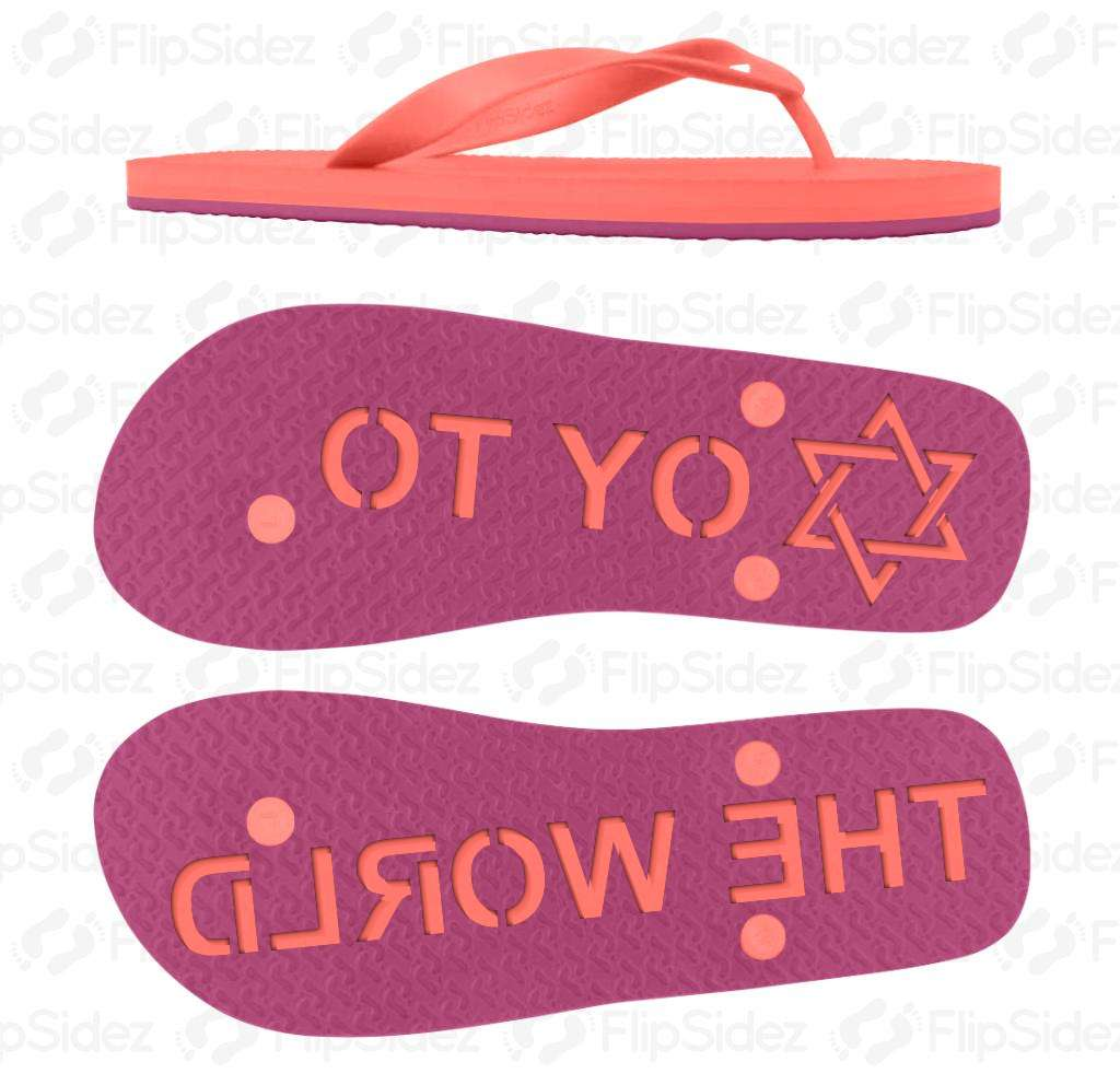 Oy To The World Flip Flops