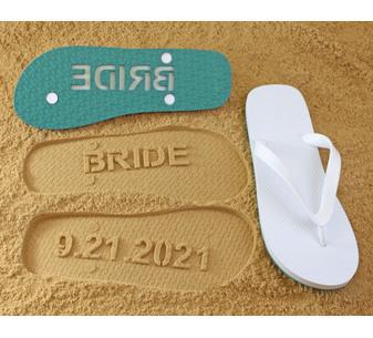 Bride Wedding Date Flip Flops