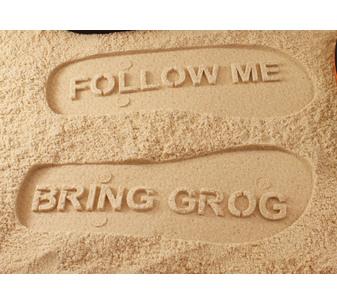 Follow Me Bring Grog Flip Flops