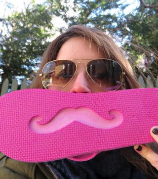 mustache flip flops
