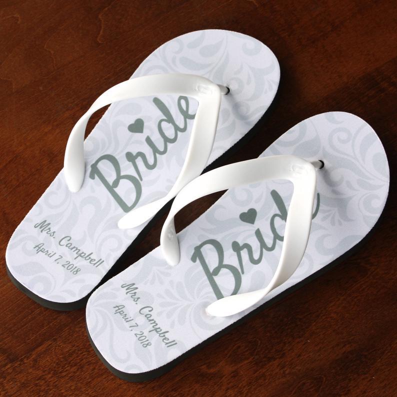 Personalized Bride Flip Flops